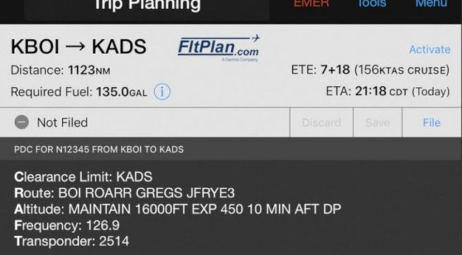 Garmin Pilot app adds PDC, eAPIS and route optimization