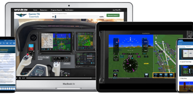 Sporty's Pilot Training app adds four new Garmin avionics courses